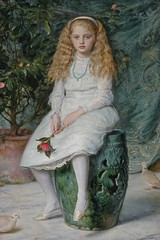 Nina, Daughter of Frederick Lehmann (1869) (Sabri KARADOĞAN) Tags: english painting art johneverettmillais portrait 19thcentury girl daughter nina vase flowerpot curtain flower dove hair