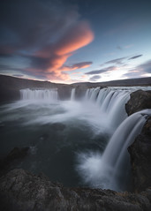 Invasion (KasparsDz) Tags: iceland landscape waterfall godafoss river water sunset nature travel dzenis photo long exposure rule thrids clouds magical silky