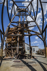 Head Frame From Within (Jeff Sullivan (www.JeffSullivanPhotography.com)) Tags: mine stamp mill historic mining ghost town esmeralda county nevada usa abandoned rural decay photography nikon d850 photos copyright jeff sullivan may 2019 panorama headframe