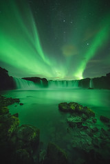 Green nights (KasparsDz) Tags: iceland landscape waterfall godafoss long exposure river rocks green nature travel dzenis photo explore earth magic mistical