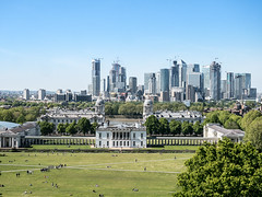 Queens' House, Royal Naval College and the Docland seen from Old Royal Observatory, London, UK (msadurski) Tags: canarywharfs docklands 35100 greenwich gm5 lumix panorama