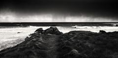 Durness, storm (Kirkbysnapper) Tags: scotland durness highlands sutherland storm beach seas wind blackandwhite monochrome landscape seascape skies grasses waves
