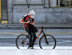 Suri Where To! 34/100X (clarkcg photography) Tags: organized bike bicycle helmet man jimmyjohns sandwich delivery streetphotography color candid streetphotography2019x 100xthe2019edition 100x2019 image34100