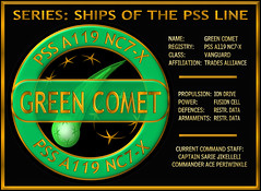 04_Spec_Green Comet_22Feb2019 (Sub Martis) Tags: spaceship starship star sciencefiction sandicayless sandi cayless author adventure comet green greencomet pirate pirates web arianrhod wwwsubmartiscom badge emblem logo insignia galaxy galactic book piratesweb planet planets spaceadventure war fusioncell vanguard shipoftheline sarie jikelleli ace periwinkle captain commander iondrive tradesalliance pirateship pss merkat freeport starsystem space ships ship