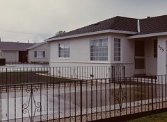 Sunnyvale, California (bior) Tags: pentax645nii pentax645 6x45cm ektachrome e200 kodakektachrome slidefilm mediumformat 120 sunnyvale street rain suburbs driveway fence yard