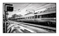 The Train (Jean-Louis DUMAS) Tags: artistique frame artistic art architecture black lignes blackandwhite noiretblanc bw nb noir city monochrome nuage cloud cloudly sky ciel storm train danemark voyage trip travel