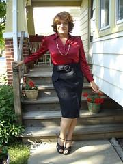 """Part Of My Fictional Universe: """"Off To Secretarial School"""" (Laurette Victoria) Tags: skirt pencilskirt blouse auburn glasses woman laurette secretary"""