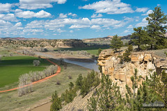 Rattlesnake Cliff (kevin-palmer) Tags: moorhead montana spring may sunny afternoon blue sky clouds moorheadrecreationarea blm nikond750 tamron2470mmf28 powderriver flowing water muddy trees hills scenicview cliff polarizer road
