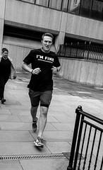 I'm Fine (daveseargeant) Tags: mental health im fine runner london riverside river street monochrome mono white black blackwhite leica x typ 113 city awareness