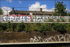 Brake / Cuso (Alex Ellison) Tags: brake cuso add dgf eastlondon urban trackside railway graffiti graff boobs