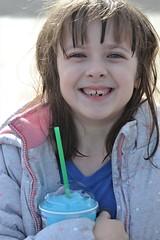Rose and a Slurpee Treat (Vegan Butterfly) Tags: child kid cute adorable smile smiling slurpee drink vegan