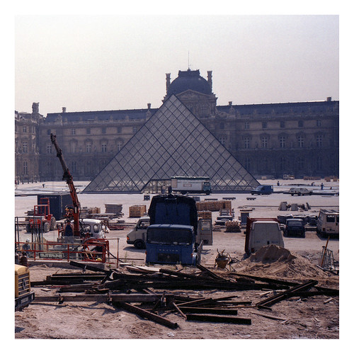 I M Pei's Louvre Pyramid Under Construction.