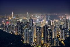 Hong Kong Lights (parkerbernd) Tags: hong kong light city cityscape skyline night blue hour after dark victoria peak mountains water sea ocean panasonic lumix gx9