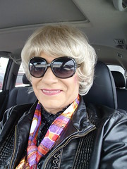 """Woman Driver: """"Just Get Out Of My Way And No One Will Get Hurt!"""" (Laurette Victoria) Tags: driver laurette woman sunglasses blonde scarf"""