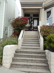 San Francisco, CA, Noe Valley, Victorian Duplex House, Entrance (Mary Warren 13.5+ Million Views) Tags: sanfranciscoca noevalley nature flora plants stairs architecture house residence victorian