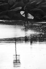 Winter Contrasts (haddartist) Tags: beach sand wet water reflection reflecting bubbles textures lines shore shoreline coast coastal ocean oceanside oceanfront surf surfer surfboard walk walking wetsuit winter rocks jetty morning light backlight highlights contrast monotone bw blackandwhite curves composition virginiabeach virginia