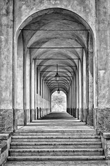 Question of ARCHITECTURE ...  (Fossano, Piedmont, Italy). (Federico Fulcheri Photo) Tags: federicofulcheriphoto©️ italy piedmont fossano tourism travel city town street building arches day architecture outdoors blackandwhite nopeople snapseed canonitalia canon