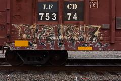 KUHR (TheGraffitiHunters) Tags: graffiti graff spray paint street art colorful benching benched freight train tracks boxcar kuhr