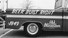 Beer Built Right (GmanViz) Tags: gmanviz blackandwhite bw truck vehicle detail pickup chevrolet c10 oldmilwaukee beer film analog 35mm nikonfe ilford xp2 columbuscarscoffee