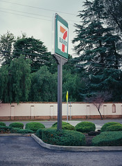 Santa Clara, California (bior) Tags: pentax645nii pentax645 6x45cm slidefilm mediumformat 120 santaclara california suburbs residential ektachrome kodakektachrome e100vs ektachrome100vs expiredfilm 711 sign 7eleven