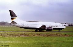 DEUTSCHE BA B737 D-ADBH (Adrian.Kissane) Tags: aeroplane ireland boeing 737 outdoors sky jet plane airliner aircraft shannonairport b737 27336 1997 dadbh shannon deutscheba taxiway