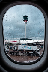 Control Tower (Marc Bayona Bardaji) Tags: london airport heathrow a340 a380 airbus boeing plane tower wing engine takeoff finger
