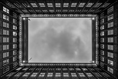 Square (ForgottenMelodies) Tags: irix irix11mm building long germany industry windows 20thcentury clouds hambourg pentax k3 journey square trip monument lookingup europe chilehaus light noir white black blanc