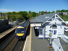 Class 170 450 arrives at North Queensferry on a service to Edinburgh. (calderwoodroy) Tags: 170450 dieselmultipleunit turbostar class170dmu train northbritishrailway forthbridgerailway scotrail northqueensferrystation tunnel railwaystation station northqueensferry fife scotland