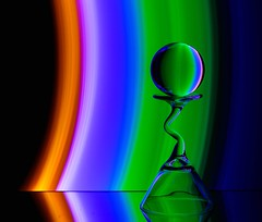 Arc-en-Ciel (Karen_Chappell) Tags: glass rainbow spectrum rgb red green blue black refraction led glow arc curve curves lightpainting longexposure stilllife ball orb sphere round circle purple orange pink color colour colors colours multicoloured colourful