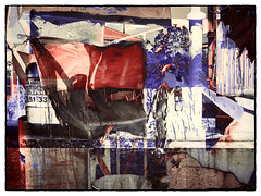 color abstract #19 (Pomo photos) Tags: epl8 olympus abstract abstraction surreal surrealism impressionism expressionism line fluid geometry doubleexposure red blue wall city urban woman people smear smudge frame brown creative art photoshop