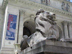 2019 Lion Under Shady Branches New York Public Library 8728 (Brechtbug) Tags: 2019 lions new york public library statues lion hanging shadows 42nd street 5th avenue nyc 05182019 may springtime soon spring weather eventually animal cat feline statue sculpture art cats ave st gargoyles gargoyle reclining repose resting facade stairs front entrance