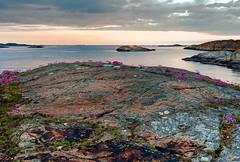 Klädesholmen (TheStolpskott) Tags: sunset archipelago klädesholmen bohuslän sweden rocks sea ocean water blue clouds overcast
