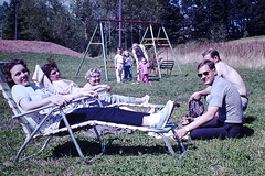 Found Photo - Family in Back Yard (Mark 2400) Tags: family swing set back yard chaise lounge lawn chairs found photo