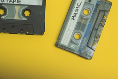 Cassette tapes isolated against yellow background (Rushay) Tags: cassette vintage retro yellow music tape portelizabeth southafrica