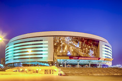 Minsk- Belarus, April 23, 2019: Minsk Arena Complex as the Main Sport Venue with Unsaturated Green Illumination for the Second European Games in April 23, 2019 in Minsk (DmitryMorgan) Tags: 2019 belarus hdr minsk minskarena republicofbelarus architecture arena bluehour building championship city complex construction design dome editorial europe europeangames exterior facade famous futuristic game glass ice modern new night reflection round sky sport stadium travel twilight urban venue