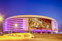 Minsk- Belarus, April 23, 2019: Minsk Arena Complex as the Main Sport Venue with Saturated Violet Illumination for the Second European Games in April 23, 2019 in Minsk (DmitryMorgan) Tags: 2019 belarus hdr minsk minskarena republicofbelarus architecture arena bluehour building championship city complex construction design dome editorial europe europeangames exterior facade famous futuristic game glass ice modern new night reflection round sky sport stadium travel twilight urban venue
