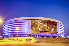 Minsk- Belarus, April 23, 2019: Minsk Arena Complex as the Main Sport Venue with Saturated Purple Illumination for the Second European Games in April 23, 2019 in Minsk (DmitryMorgan) Tags: 2019 belarus hdr minsk minskarena republicofbelarus architecture arena bluehour building championship city complex construction design dome editorial europe europeangames exterior facade famous futuristic game glass ice modern new night reflection round sky sport stadium travel twilight urban venue