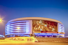 Minsk- Belarus, April 23, 2019: Minsk Arena Complex as the Main Sport Venue with Blue Illumination for Second European Games in April 23, 2019 in Minsk (DmitryMorgan) Tags: 2019 belarus hdr minsk minskarena republicofbelarus architecture arena bluehour building championship city complex construction design dome editorial europe europeangames exterior facade famous futuristic game glass ice modern new night reflection round sky sport stadium travel twilight urban venue