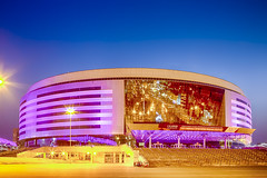 Minsk- Belarus, April 23, 2019: Minsk Arena Complex as the Main Sport Venue for Second European Games in April 23, 2019 in Minsk (DmitryMorgan) Tags: 2019 belarus hdr minsk minskarena republicofbelarus architecture arena bluehour building championship city complex construction design dome editorial europe europeangames exterior facade famous futuristic game glass ice modern new night reflection round sky sport stadium travel twilight urban venue