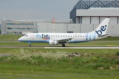 G-FBJH landing. (aitch tee) Tags: flybe embraer gfbjh landing aircraft airliner aircraftspotting cwlegff maesawyrcaerdydd walesuk