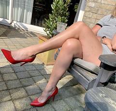 MyLeggyLady (MyLeggyLady) Tags: feet cleavage toe sex hotwife milf sexy secretary minidress teasing thighs cfm leather red pumps stiletto legs heels