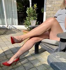 MyLeggyLady (MyLeggyLady) Tags: feet cleavage toe sex hotwife milf sexy secretary upskirt teasing cfm thighs leather red pumps stiletto legs heels