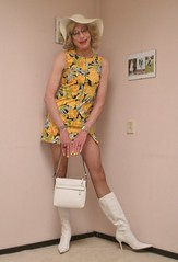 Sunny Sunday. (sabine57) Tags: crossdressing transvestism crossdress crossdresser cd tgirl tranny transgender transvestite tv travestie drag boots highheels whiteboots pantyhose tights dress minidress shortdress hat handbag purse choker