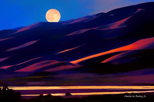 Digital Oil Painting of Medano Creek by Charles W. Bailey, Jr.