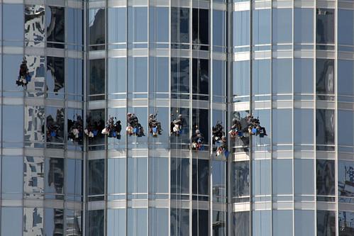 Windows cleaners of the Burj Khalifa at work