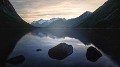 Serenity (thobiasphoto.myportfolio.com) Tags: sunset norway reflections water fjord landscape mountains peeks