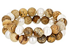 9mm White Cultured Freshwater Pearl with Jasper Simulant Bead Stretch Bracelet Set of Two... (ScarlettSinclaire) Tags: jewelry jtv jewelrytelevision jewelrylove gemstones