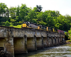 Blue Ridge Southern #4204 leading the way across the French Broad River going to the Asheville Yard (Rusty4344) Tags: train tracks rivers river bridges sky trees green