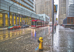 Rain & Hail (A Great Capture) Tags: canon eos 6d mark ii ef2470mm 2470mm agreatcapture agc wwwagreatcapturecom adjm ash2276 ashleylduffus ald mobilejay jamesmitchell toronto on ontario canada canadian photographer northamerica torontoexplore spring springtime printemps 2019 city downtown lights urban cityscape urbanscape digital dslr lens skyline towers tower buildings structure overcast cloudy reflection mirror glass reflections outdoor outdoors outside rain rainyday rainy streetphotography streetscape photography streetphoto street calle ttc torontotransitcommission streetcar red rocket redrocket transport