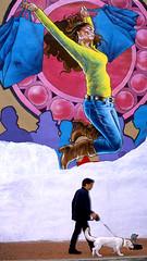 Adams Morgan Mural (Packing-Light) Tags: 35mm fujichrome nikonf6 provia provia100 rdpiii analog chrome film slide transparency washington dc mural art graffiti street dog pedestrian